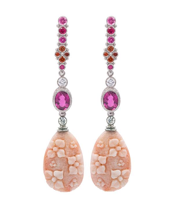Featherstone angelskin coral drop earrings