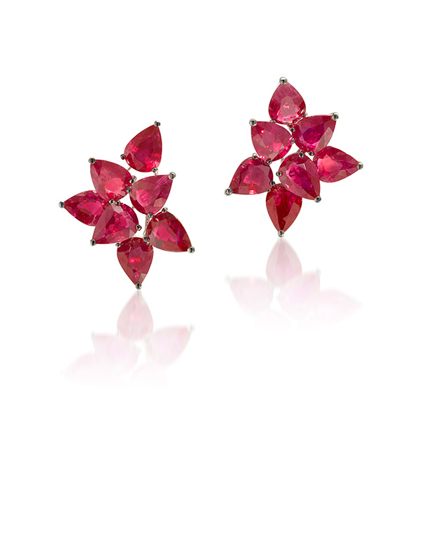 Graff ruby and gold earrings