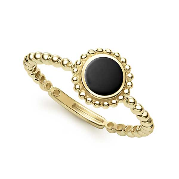 Lagos 18k Caviar gold and onyx ring