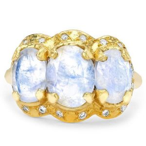 Logan Hollowell Queen Triple Goddess moonstone ring