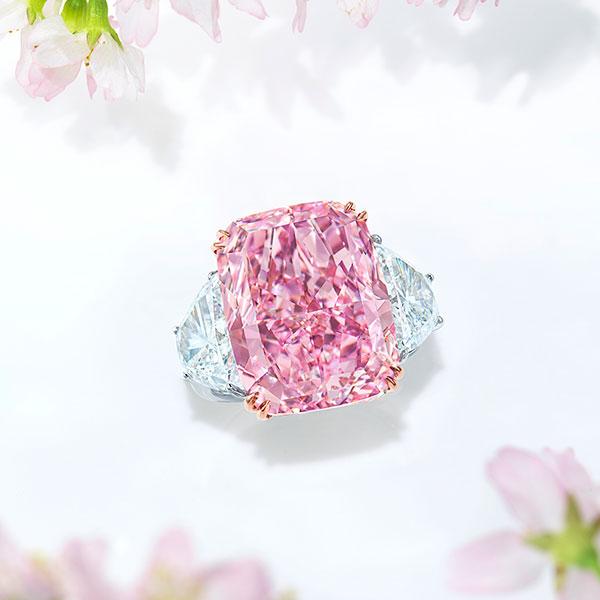 Pink Square cut diamond ring