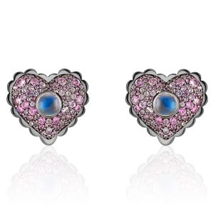Anne Baker moonstone heart earrings
