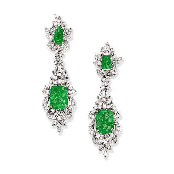Bonhams Joan Collins jade and diamond earrings