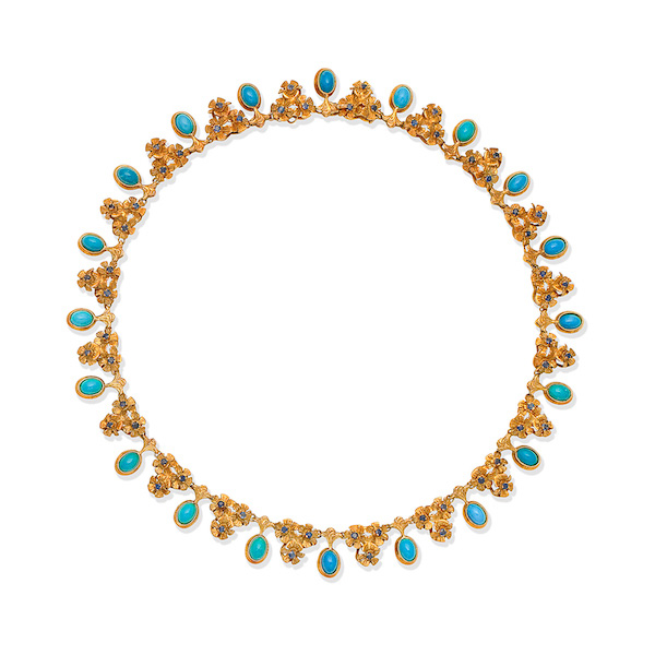 Bonhams Joan Collins turquoise and gold necklace