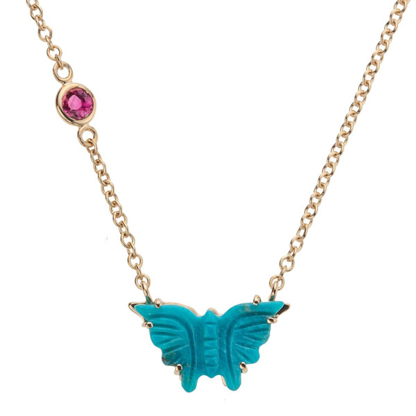 Jane Win carved turquoise butterfly