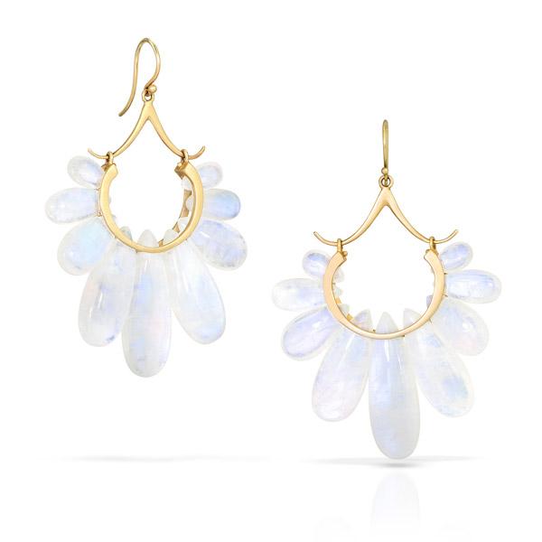 Rachel Atherley moonstone Peacock earrings