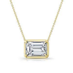 Rahaminov emerald cut diamond pendant