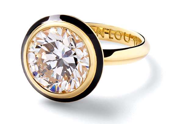 Alison Lou gloria 18k gold enamel 2 ct diamond ring
