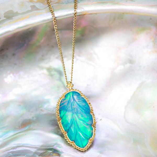 Amali opal leaf pendant