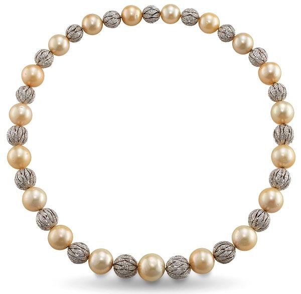 Ashi gold pearl diamond necklace