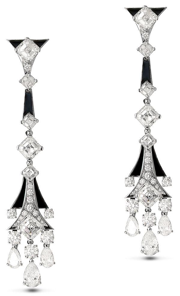 Bulgari onyx diamond drop earrings