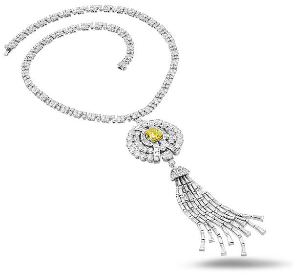 Bulgari yellow white diamond high jewelry necklace