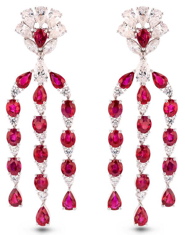 Chopard ruby diamond drop earrings