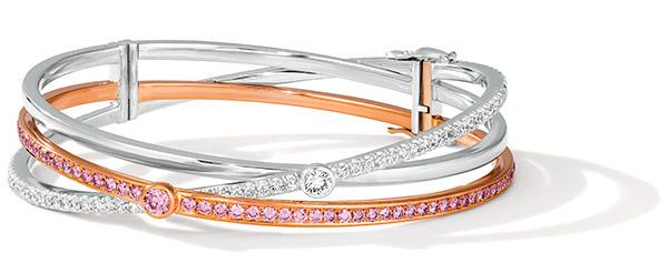 LJ West knot argyle platinum rose gold bracelet
