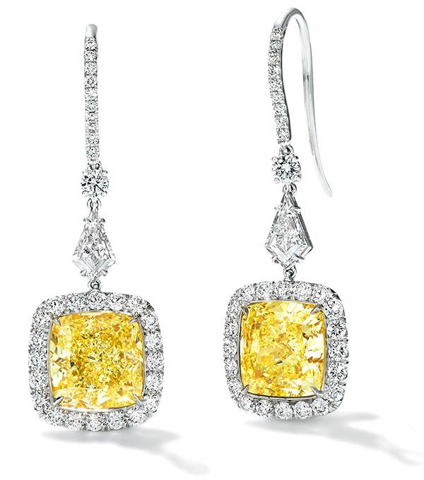 Le Vian charlotte platinum and honey gold diamond earrings