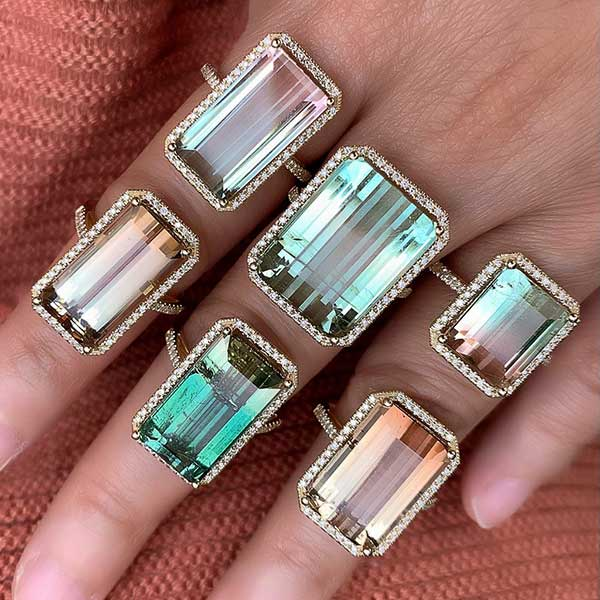 Liven tourmaline rings