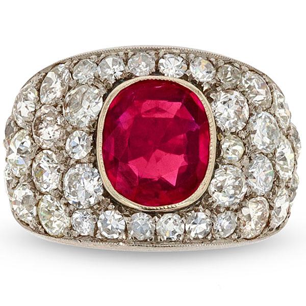 MS Rau Art Deco Burma Ruby and Diamod ring