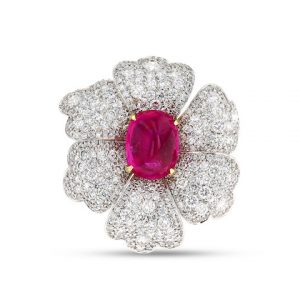 MS Rau Burma Cabochon ruby Ring