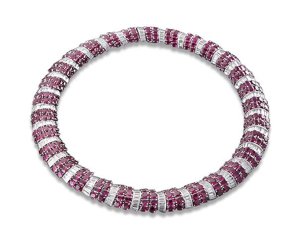 MS Rau Burma Ruby and Diamond Necklace