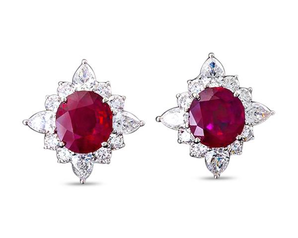 MS Rau Oval Burma Ruby and Diamond Earrings