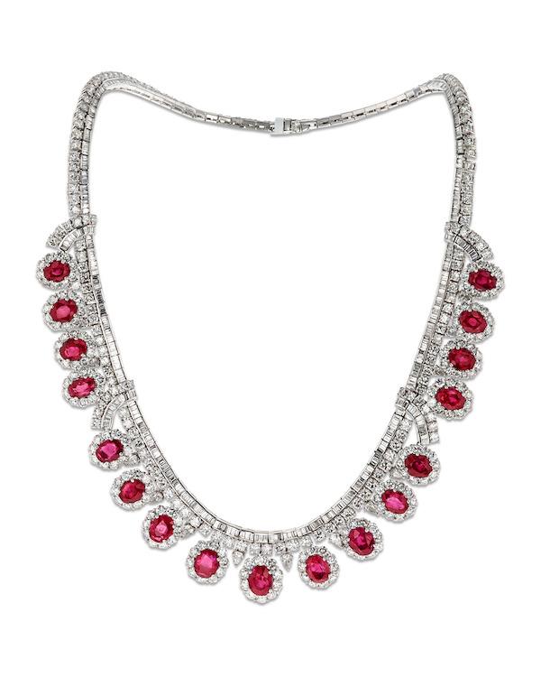 MS Rau Untreated Burma Ruby Necklace