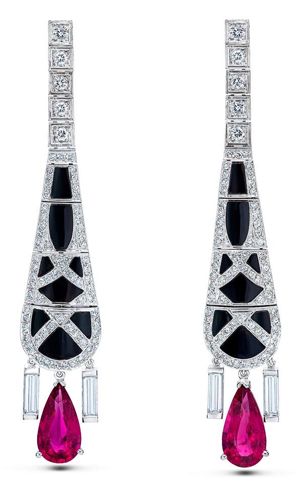 Mindi Mond onyx diamond rubellite earrings