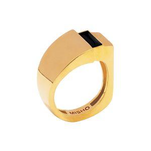 Misho man ring gold black