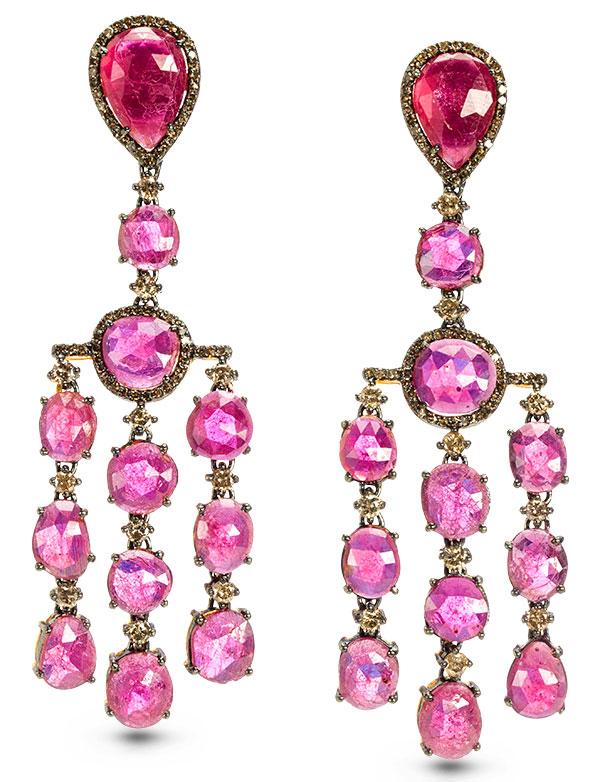 Modern Moghul ruby earrings