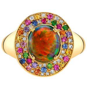 Omi Prive black opal ring