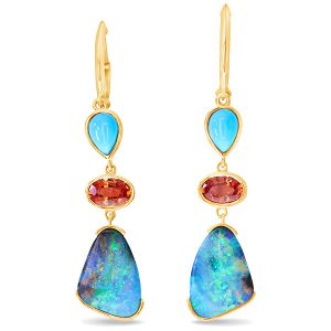 Parle australian boulder opal orange sapphire turquoise earrings
