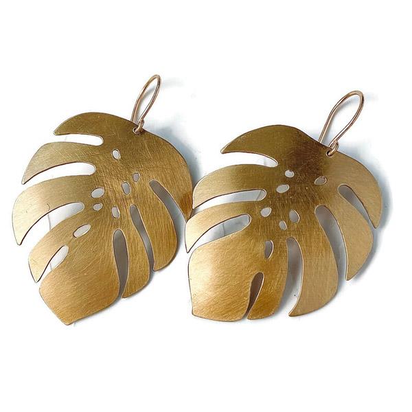 Rhubarb Jewelry monstera leaf earrings