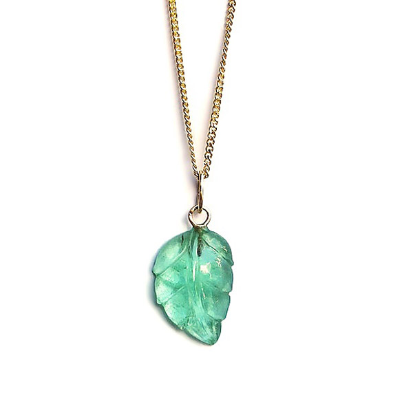 Saruchi Jewellery carved emerald leaf