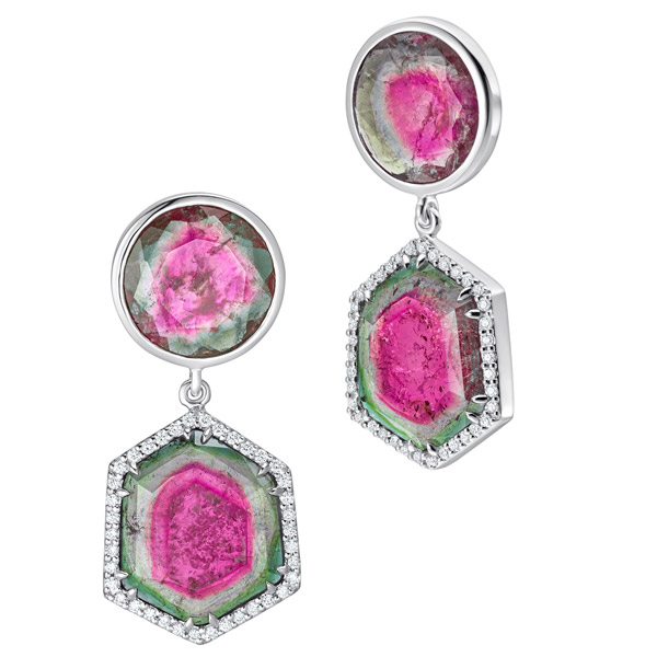 Simon G watermelon tourmaline earrings