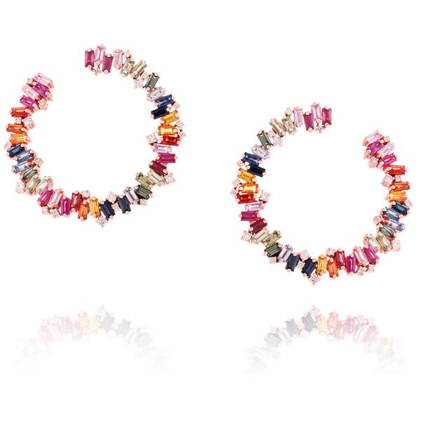 Suzanne Kalan rainbow fireworks hoop earrings