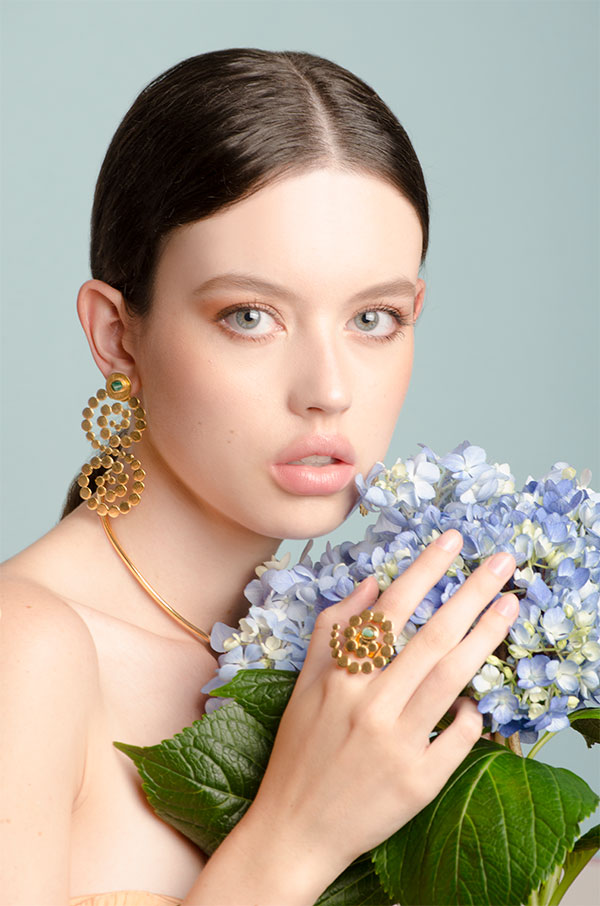 VAnessa Arcila spiral earrings and ring