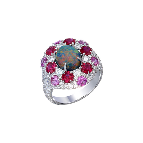 Valani ruby and opal ring