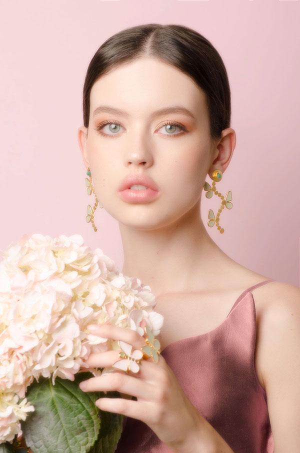 Vanessa Arcila butterfly earrings and rings