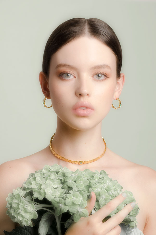 Vanessa Arcila emerald necklace and hoops