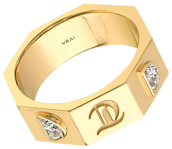 Vrai x RandM contract ring with lab grown half moon diamonds