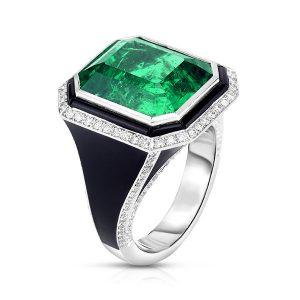 Cicada enamel emerald ring