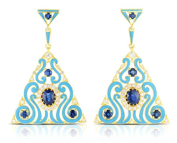 Cicada enamel sapphire earrings