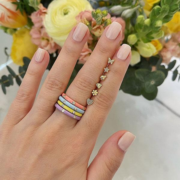 EF enamel rings and studs