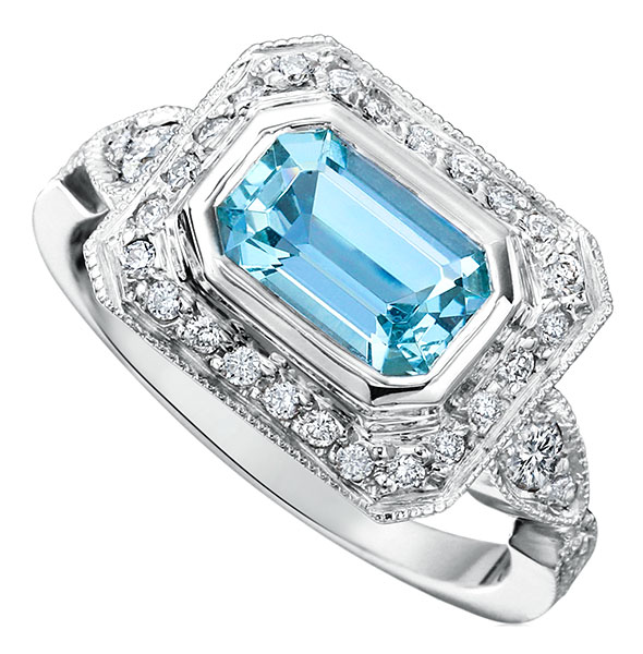 Just Jules aqua vintage ring