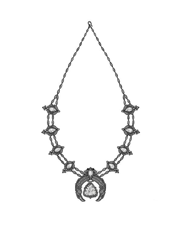 Maeve Gillies squash blossom necklace sketch