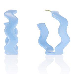 Senia large blue wavy hoops