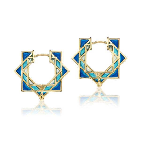 ARK plique a jour blue enamel hoop earrings