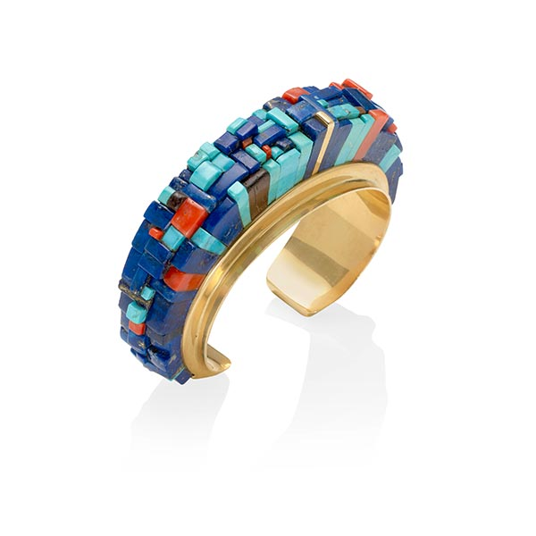 A Gold and Multistone cuff by Charles Loloma