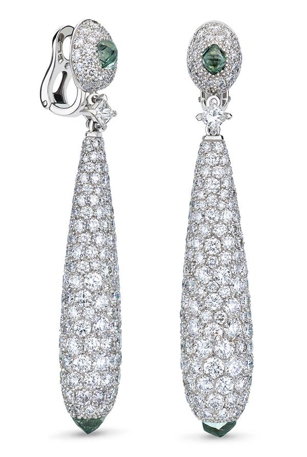 De Beers Talisman green diamond earrings