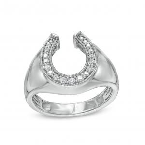 Elvis Presley Collection Men's 1_3 CT. T.W. Diamond Milgrain Horseshoe Ring in 10K White Gold $1,629.00