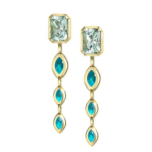 House of Lif plique a jour blue enamel earrings
